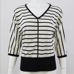 Talbots Sweated M Black White Stripe V-Neck Dolman